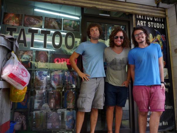 2014-03-19 - 114 - Kuala Lumpur - Alec, Nic, and Matt ready for tattoo day
